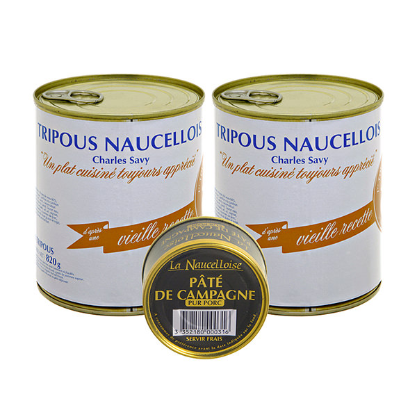 Set 2 of cans of 8 Charles Savy tripous 820g + 1 can of farmhouse pâté 125g free